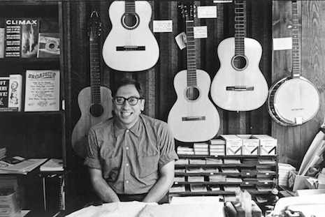 Izzy Young at his shop, circa 1960
