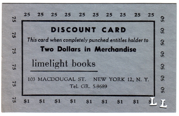 Limelight Books Discount Card, 1962