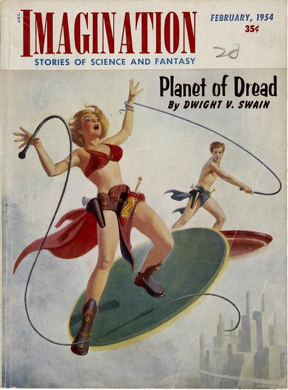 Imagination, Feb 1954, cover art by Harold McCauley