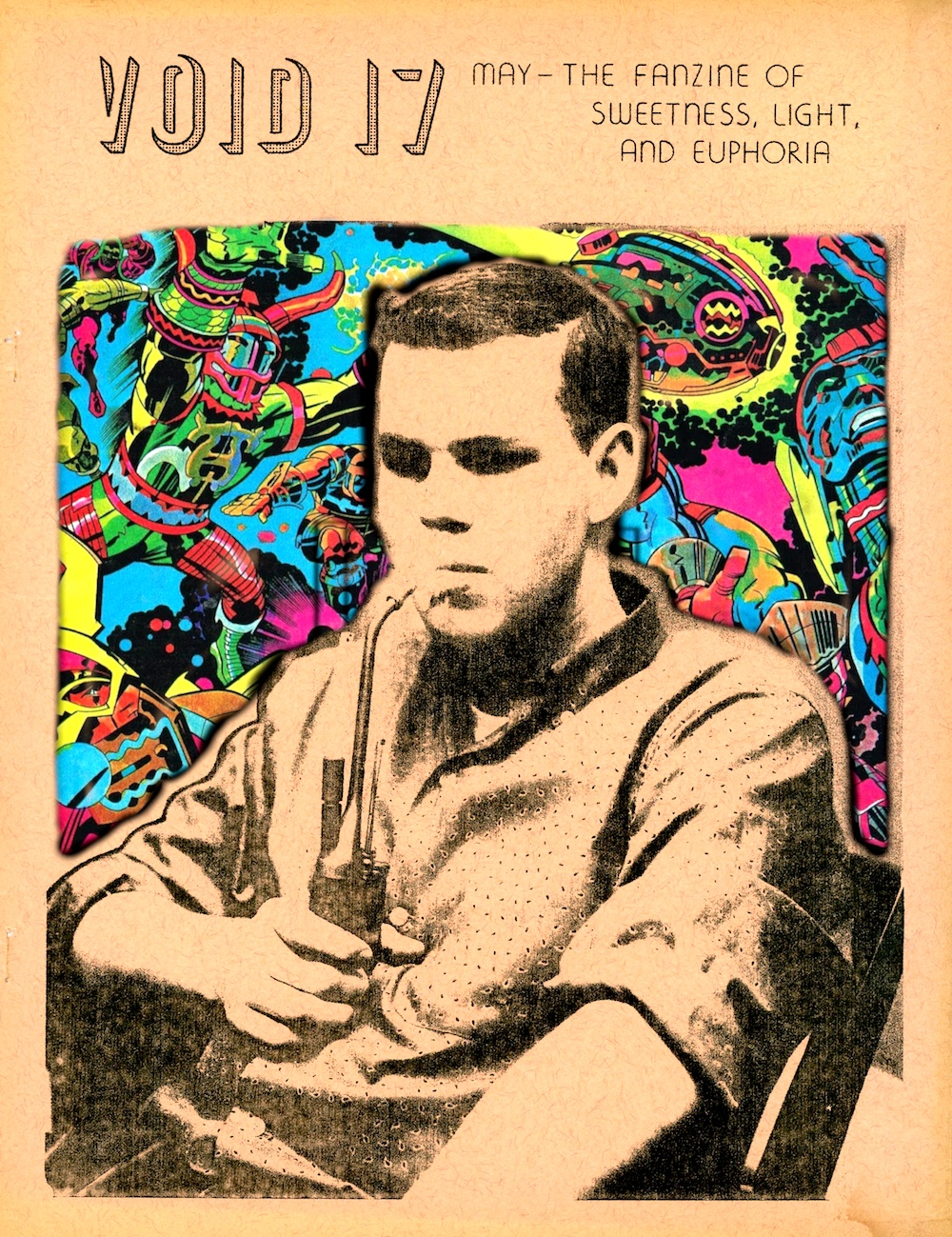 collage: Ted White's fanzine VOID #17, cover photo by Harry Lowinger, with Argo poster by Jack Kirby